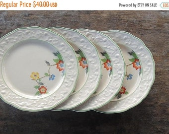 ON SALE English Brambleberry Salad Plates Set of 4 Hopewell China Dessert Plates Very Rare Farmhouse Plates