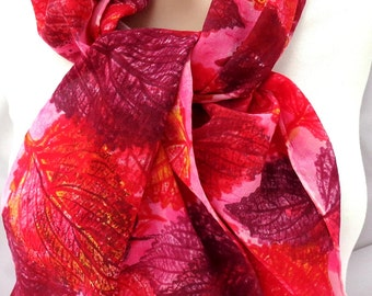 silk scarf long large crepe Coleus unique hand painted red maroon pink wearable art women luxury
