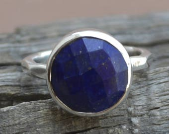 Lapis Lazuli Gemstone Ring -January Birthstone Ring - 925 Sterling Silver Ring -Round Faceted Lapis Ring- Solitaire Lapis Ring Jewelry