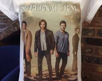 Supernatural - White Custom Made T-Shirt. Men's & Women's