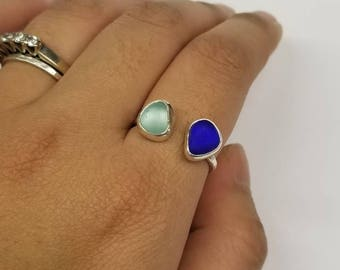 Aqua and Cobalt Sea Glass Ring Size 7.75