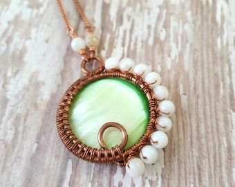 Mother of Pearl Shell Necklace - Bright Green Pendant Necklace - Copper Wire Wrapped Necklace - Spiral Necklace - Statement Necklace - Boho