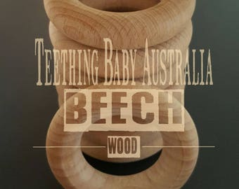 10 x Beech Wood Teething ring, 65mm x 15mm thick - Sanded - AAA Grade - Toy & Safety compliant AS/NZS