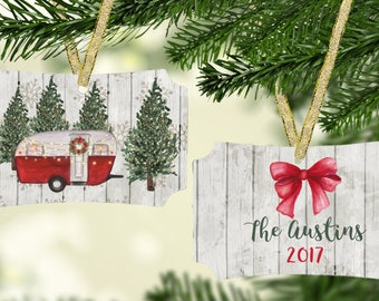 Camping Christmas Ornament / Personalized Christmas Ornament / Double sided / Christmas Ornament / Camper / Camping / Motor Home / Travel