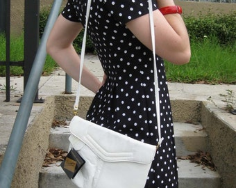 White Leather Shoulder Bag with Original Tags