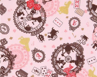 217804 light pink Alice in Wonderland gold metallic fairy tale oxford fabric by Kokka
