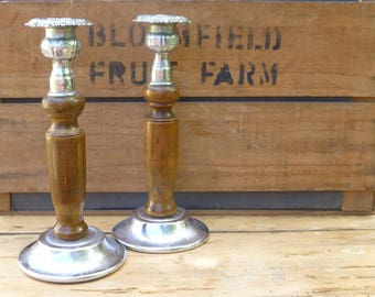 Pair of Wood and MetalCandlestick Holders 22cm tall