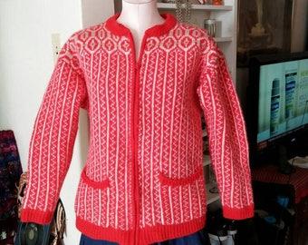 Wool Sweater, Liz Wear Orange Wool Sweater, Zip Front Sweater, Liz Wear Clothing, Vintage Liz Wear Sweater
