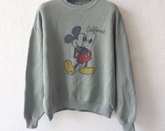 Vintage Mickey Mouse Sweatshirt Crewneck Pullover Jumper Green Colour XL Size Rare On Sale