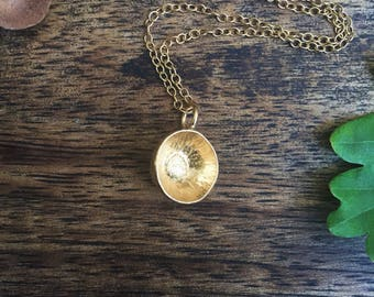 Gold vermeil acorn necklace, gold plated acorn cap necklace