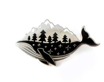 Silver Whale Enamel Pin (hard enamel pin lapel pin badge enamel jewelry cute whale pin jewelry mountains whale cloisonne backpack pins)