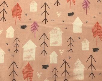 Cotton + Steel Cozy Neighbor Peach 100% Cotton Fabric, Peach House Fabric