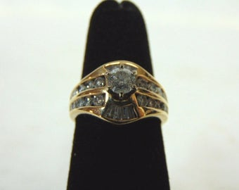 Amazing Womens Vintage Estate 14K Yellow Gold & Diamond Ring 6.0g #E2955