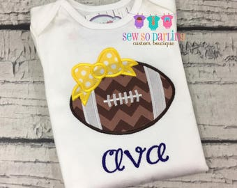 Baby girl football outfit - Baby girl navy and yellow Football shirt - personalized outfit - girl football shirt - girl football clothes