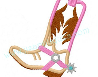 Cowgirl Designs Cowgirl Boot Designs Western Embroidery Applique Design - Cowgirl Boot Applique 4x4, 5x7, 6x10 hoop sizes - Instant Download