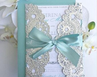 Pool Blue and Silver Invitation
