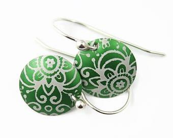 Aluminum Earrings, Green and White Earrings, Flower Pattern, Argentium Silver Earwires, Handmade