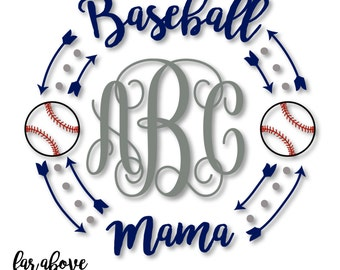 Baseball Mama Monogram Wreath with Arrows (monogram NOT included) - SVG, DXF, png, jpg digital cut file for Silhouette or Cricut