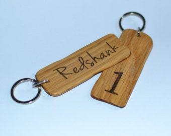 Rustic Oak B&B room keys - hotel room keys - rustic key fobs - Bed and Breakfast key fobs - wooden hotel room key chains
