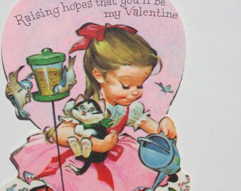 Vintage Cute Girl in Pink Dress Holding a Kitten Valentine Card, UNUSED Cat Lover's Blue Birds, Collectible Sweetheart Valentine Day Card