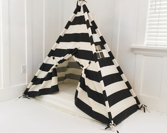 Play Tent Canopy Bed in Natural Canvas & Black Stripe WITH Doors