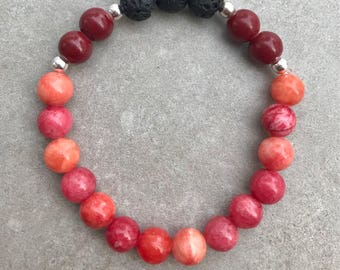 Red Essential Oil Lava Bead Diffuser Bracelet, Aromatherapy Bracelet