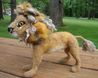 Needle Felted Lion, Wool Lion, Felted Lion, Soft Sculpture, Soft Sculpture Lion, Needle Felted Animal, Felted Animal, Wool Animal