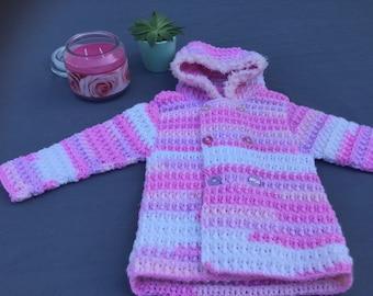Crocheted baby girl jacket/coat