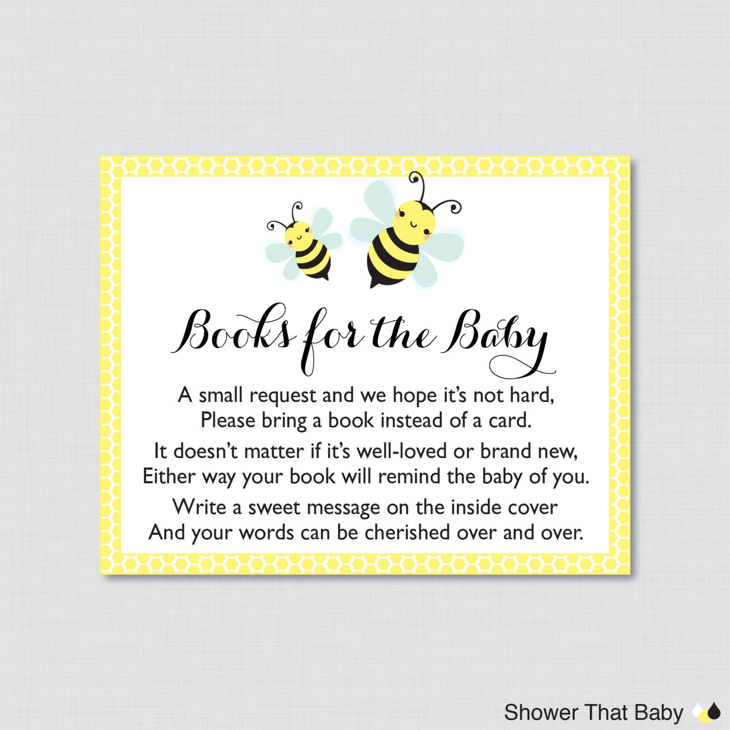 Bumble Bee Baby Shower Printable Bring A Book Instead Of