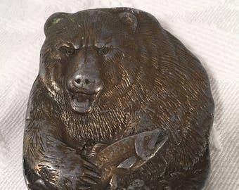 Bergamot Brass Bear and Fish Belt Buckle