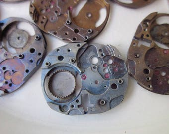 12 Vintage Watch Plates, Anodized Finish, 23mm x 19mm Squared Oval, Mixed Colors