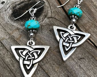 Gemstone Celtic earrings, Celtic jewelry, gemstone, turquoise, Irish