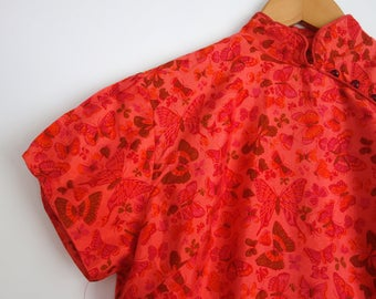 Beautiful Vintage Party Pink Oriental Chinese wiggle Dress Butterflies 12 14