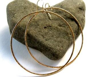 "Big Gold Hoop Earrings, Large Hammered Hoops, 2"" Handmade Simple Circles, Minimilist Jewelry, Elegant , Gift, Boho, Rose Gold"