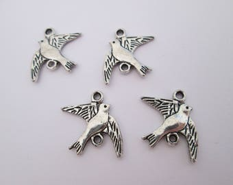4 connecteur oiseau hirondelle métal argenté 16 x 14 mm