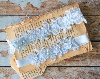 Light Blue Embroidery Flower Lace Wedding Garter, Light Blue Garter Set, Blue Single Garter,Something Blue -1827