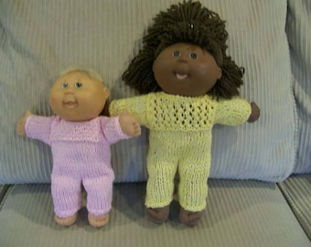 103) Jumpsuit Knit Hand Made 10- 12/13 Inch Cabbage Patch Dolls Pattern on Yoke or Sleeves Back Closure Doll Clothes Dolls Toys