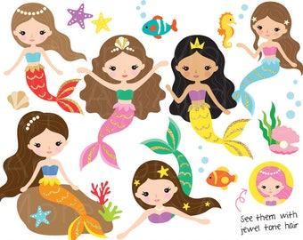 Cute Mermaid Clipart Mermaid Princess Clip Art Mermaid Digital Sticker Gold Mermaid Clipart Little Mermaid Clipart Mermaid Party Clipart