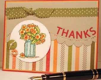 Thank You Card - Handmade Card with Jar of Yellow Flowers and Inlaid Die-Cut Thanks