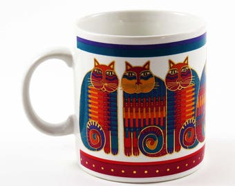 "Vintage LAUREL BURCH RAINBOW Cat Cousins Mug / Ceramic / Vintage 1988 from Japan / 4"" Tall / Great  Cat Lover's Christmas-Birthday Gift ! !"