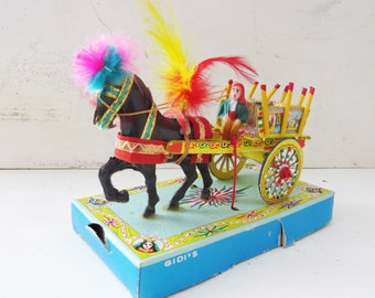 GIDI's Italian Toy Circus Cart Horse Wagon Figurine Miniature- Sicilian Folk Art- Palermo carrettas