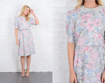Vintage 80s Lace Collar Dress Floral Print Crochet Puff Slv Midi A Line Medium M 10067