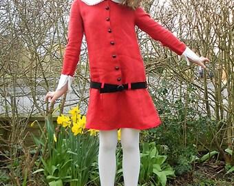 Veruca Salt dress. Red linen dress.