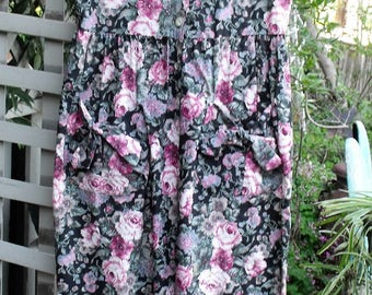 "80's Jumpsuit/ Rose Print Cotton Chintz/ Label ""You Too Babes"", Size 5, Made in USA/ Retro Jumpsuit/ Shabbyfab Funwear"