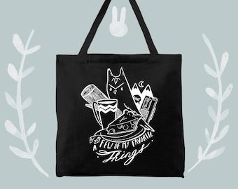 favorite things twin peaks bunny dee design on black tote