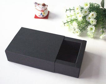 10 pieces / lot 22*12*7cm Black Kraft Paper Drawer Boxes Handmade Craft Gift Packing Boxes Cosmetic Box More sizes available