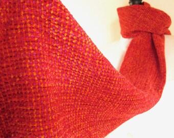 Lumineux rouge-Orange velouté doux Chenille écharpe tissé à la main