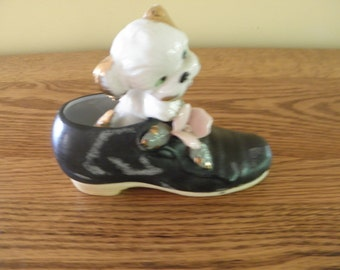 Elvin Hand Painted Shoe with Puppy