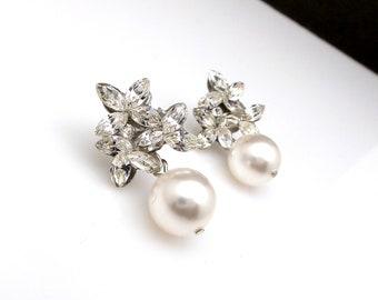 christmas prom bridal wedding bridesmaid gift Swarovski clear fancy marquise flower crystal rhinestone rhodium silver post pearl earrings