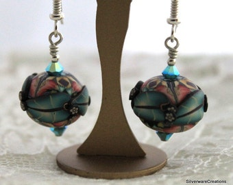 Earrings with KLEW Polymer Clay Beads - Made in USA - Sterling Silver - Swarovski Crystals - Ready To Ship
